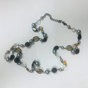 Premier Designs Necklace Faux Pearls Stone Amber